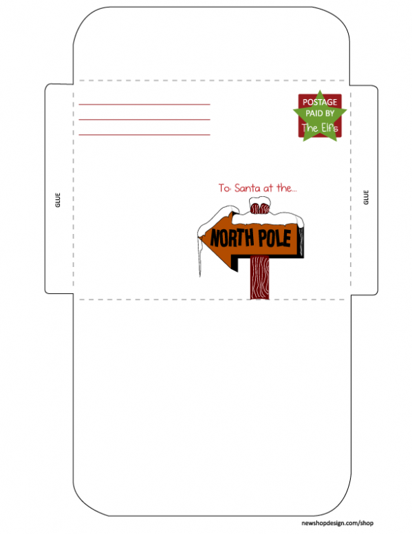 Free Printable Envelope From Santa Template Letter From Santa Envelope ...