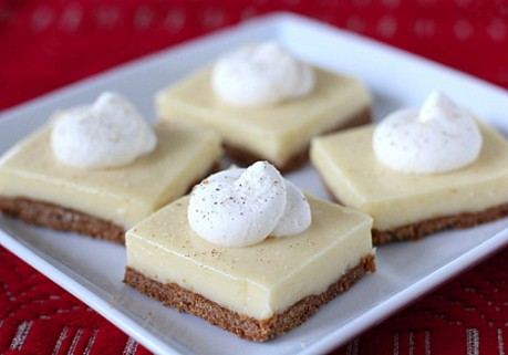 Elizabeth's Eggnog Cheesecake Bars Recipe — Dishmaps