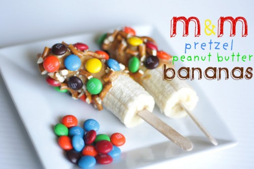 M&M Pretzel Peanut Butter Banana Pops