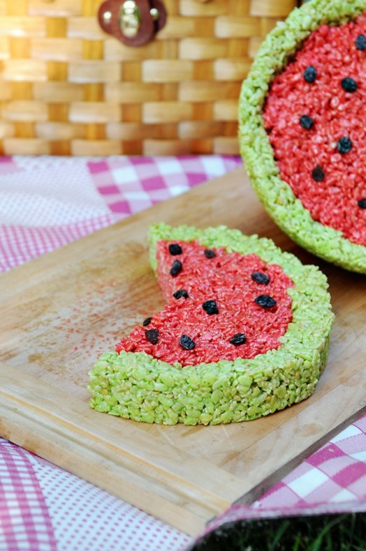 Tangy Watermelon Rice Krispie Treats