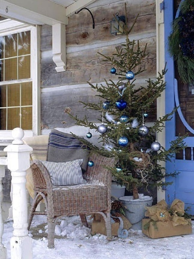 Blue Ornaments, Christmas Tree, Burlap Wrapped Presents  Front Porch  Christmas Decor