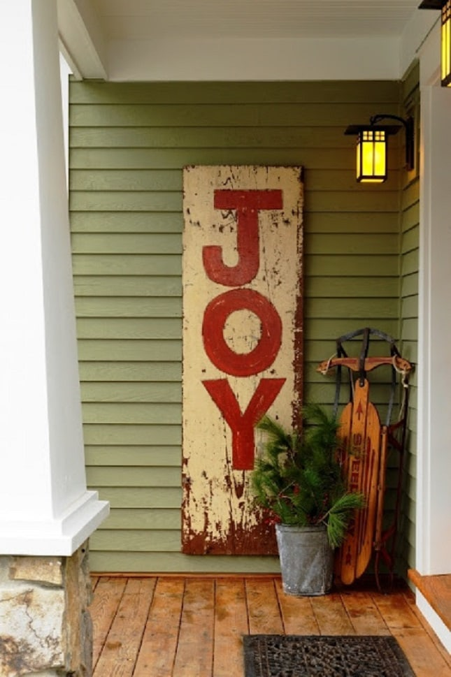 joy christmas sign potted pine tree sleigh front