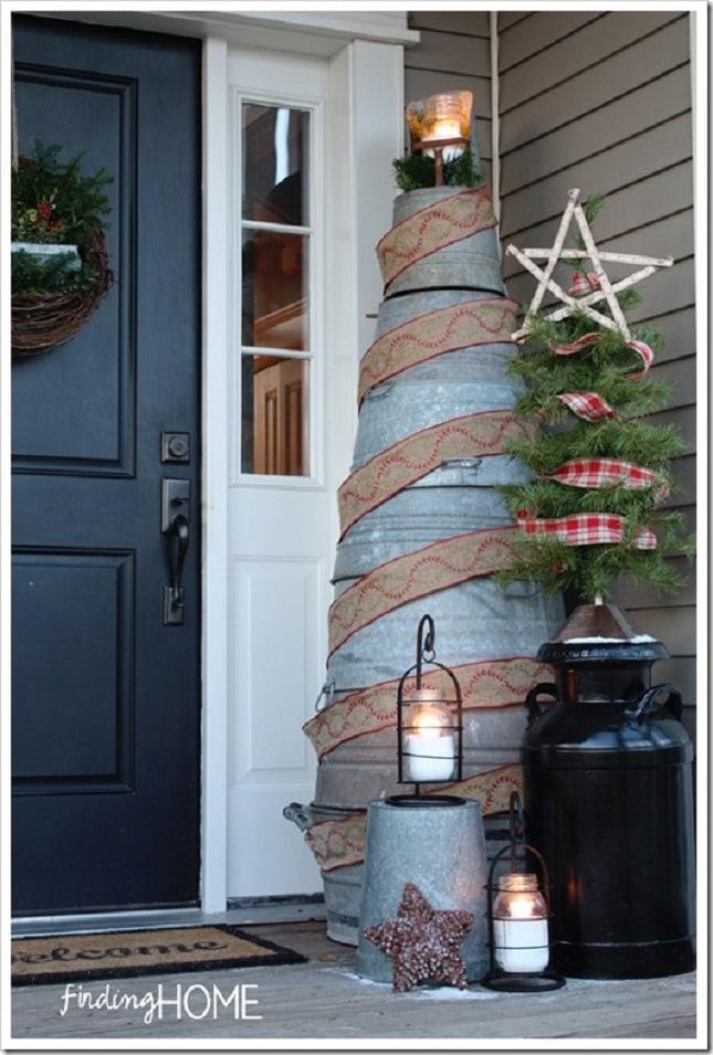 Mason-Jars-Tin-Barrels-Ribbon-Christmas-Tree-Front-Porch-Front-Porch-Christmas-Decor