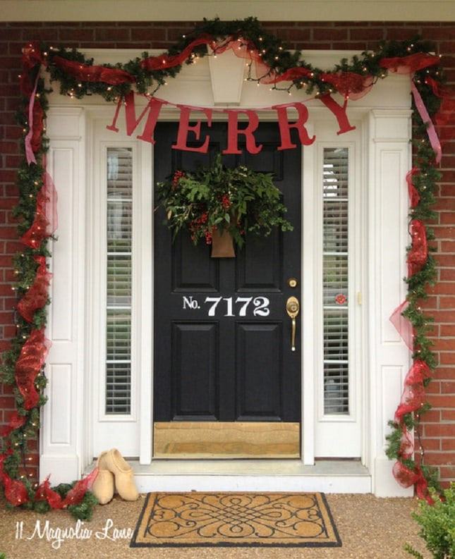 merry banner garland ribbon red and green front - How To Decorate Front Porch For Christmas