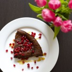 BAKED CHOCOLATE PANCAKE WITH PEAR, POMEGRANATE, & HONEY RECIPE