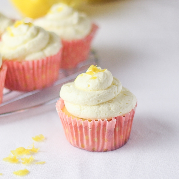 Lemon Cupcakes With Lemon Whipped Cream Frosting Recipe — Dishmaps