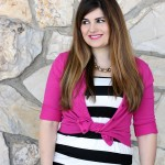 BRIGHT PINK + BLACK & WHITE STRIPED MAXI DRESS STYLED
