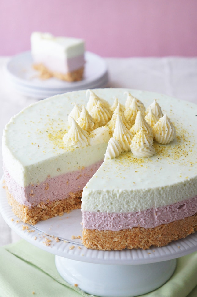 Sugary & Buttery - Cherry and Pistachio Layered Cheesecake