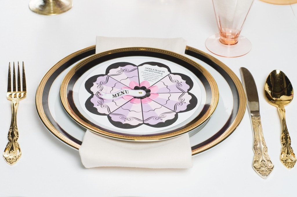 gold-black-pink-placesetting
