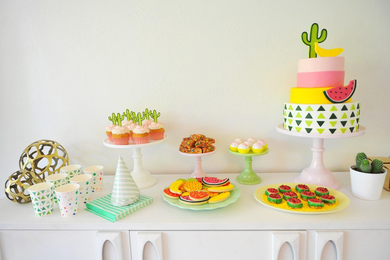 colorful modern cactus fruit kids party best friends for frosting. Black Bedroom Furniture Sets. Home Design Ideas