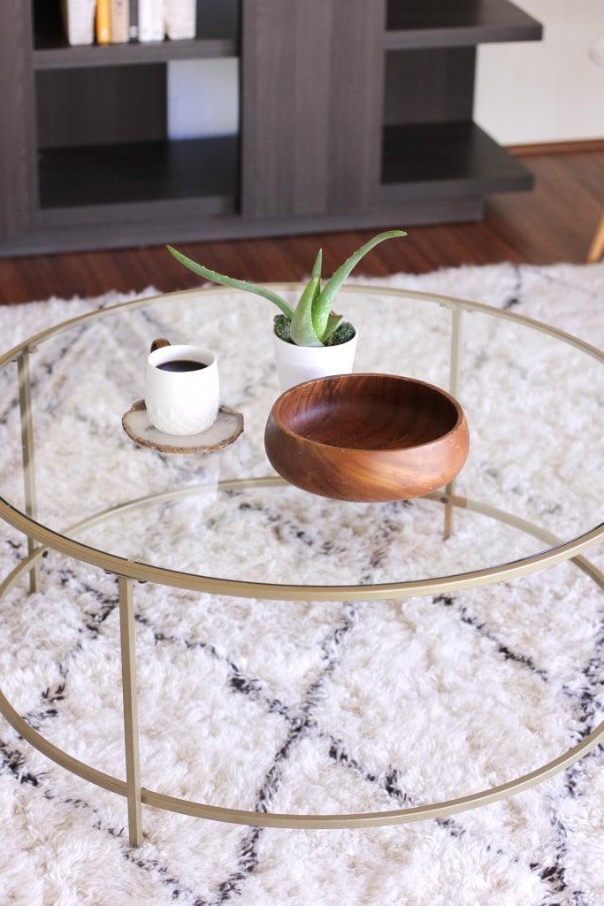 sauder coffee table gold round