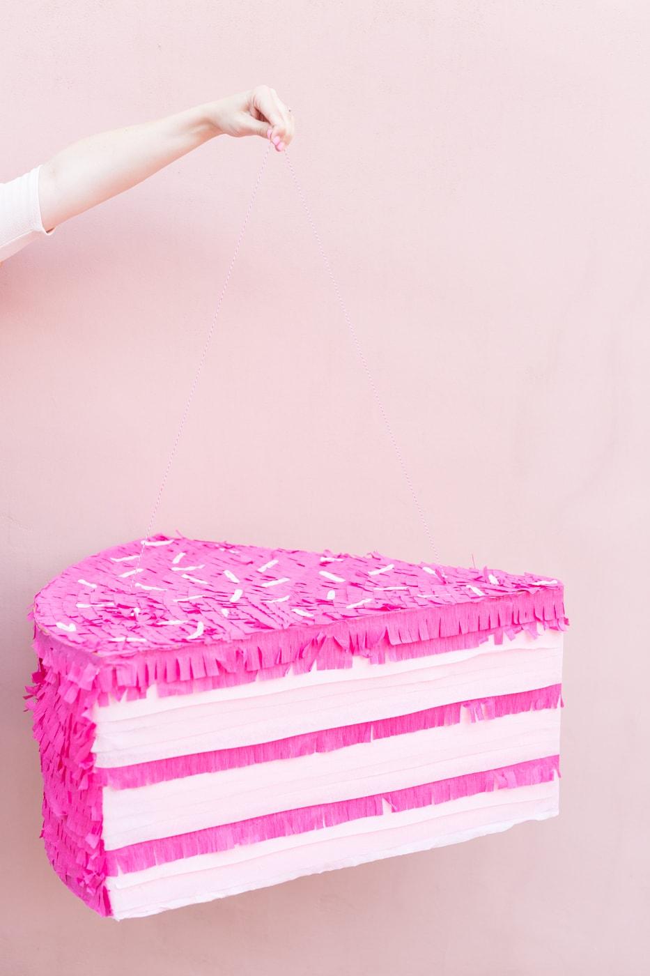 Marvelous Diy Giant Pink Birthday Cake Slice Pinata Best Friends For Frosting Funny Birthday Cards Online Elaedamsfinfo