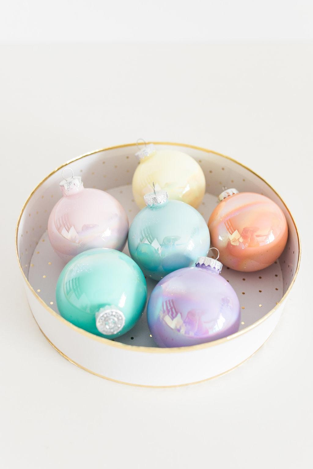 Pour Painted Iridescent Ornaments