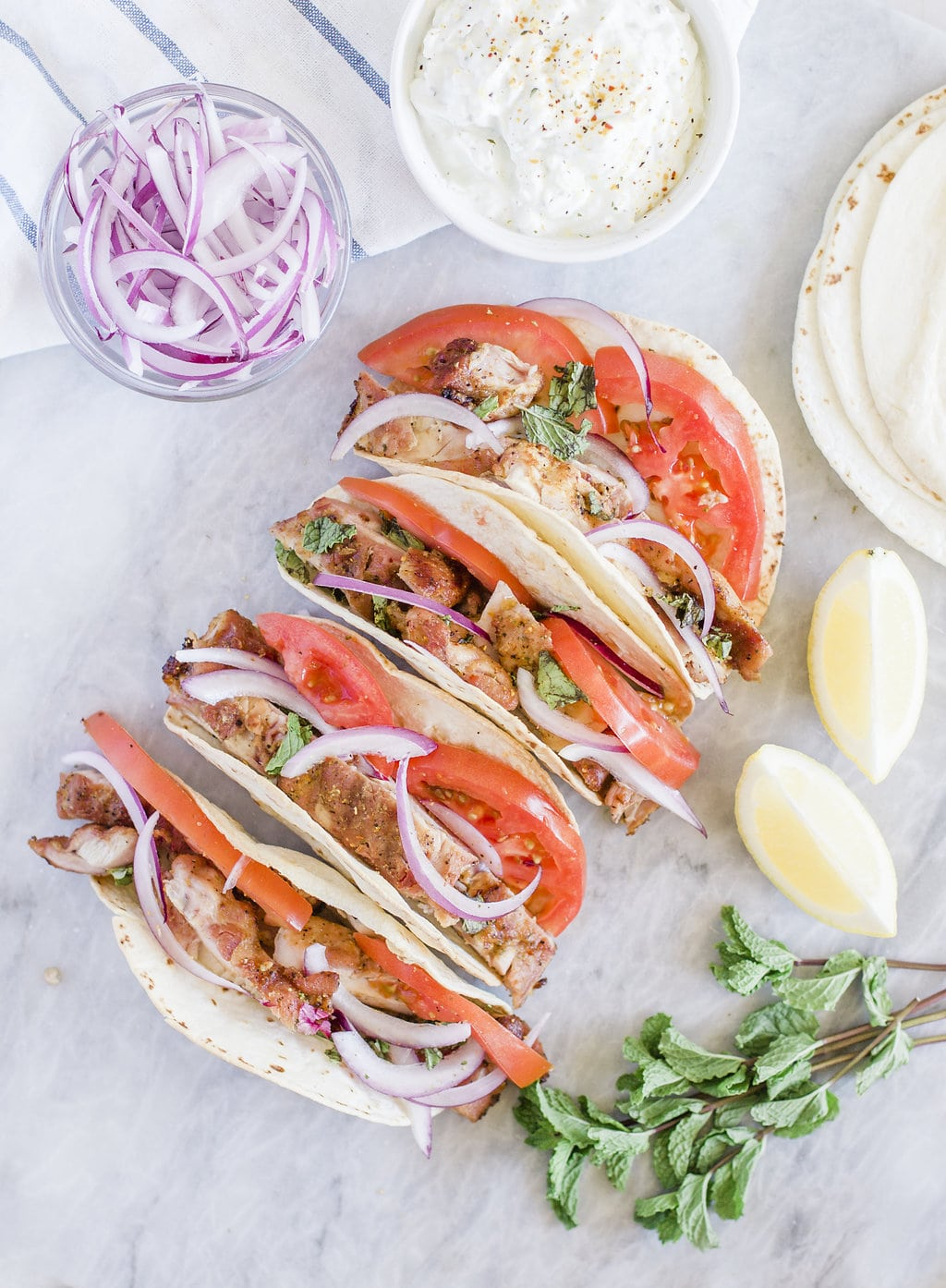 Smoked Chicken Greek Tacos