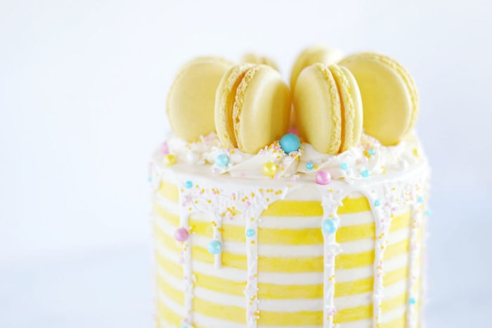cake with yellow stripes