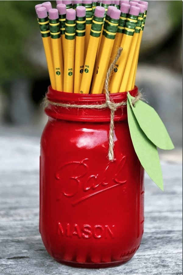 pencils in red mason jar