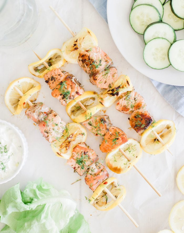 salmon and lemon on a skewers