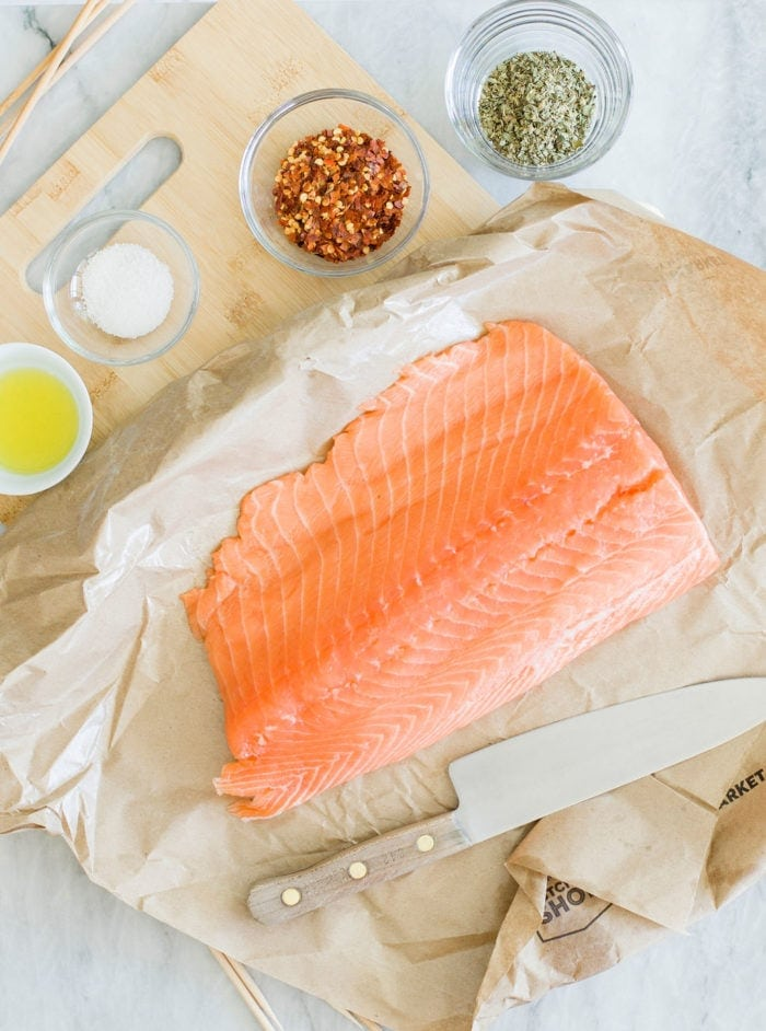 salmon on counter