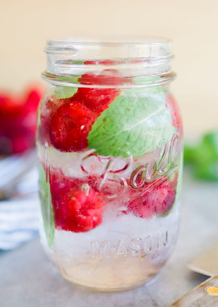 rasberries in water