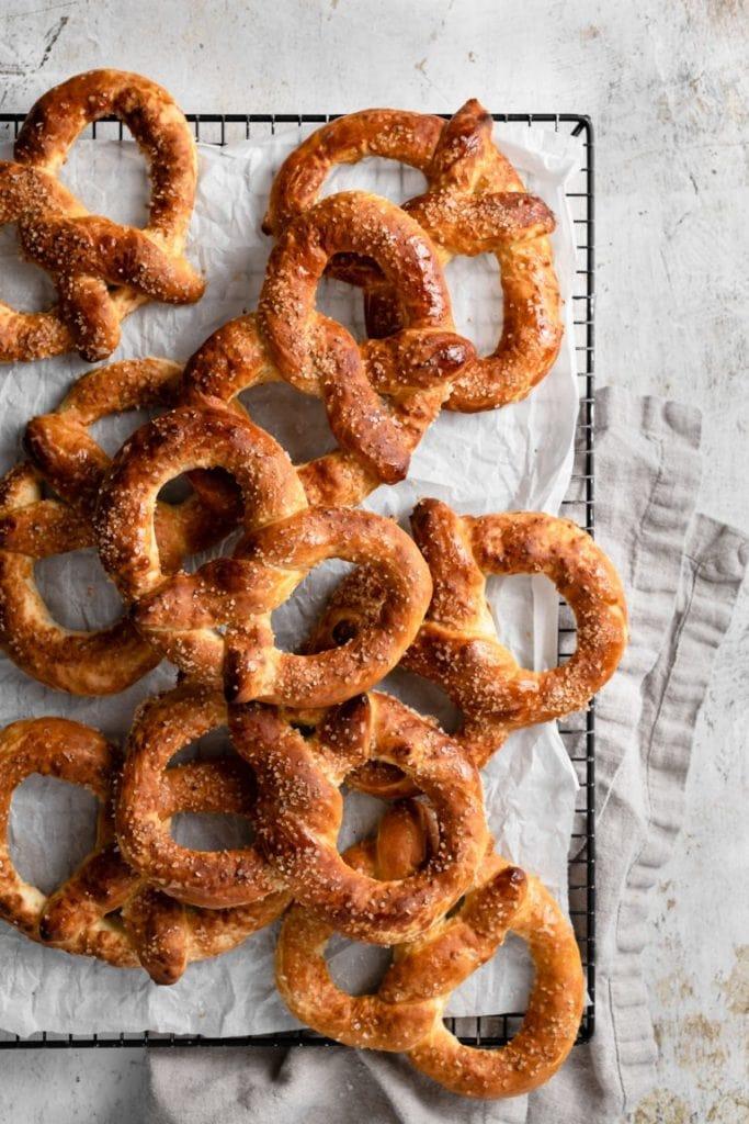 pretzels on a table
