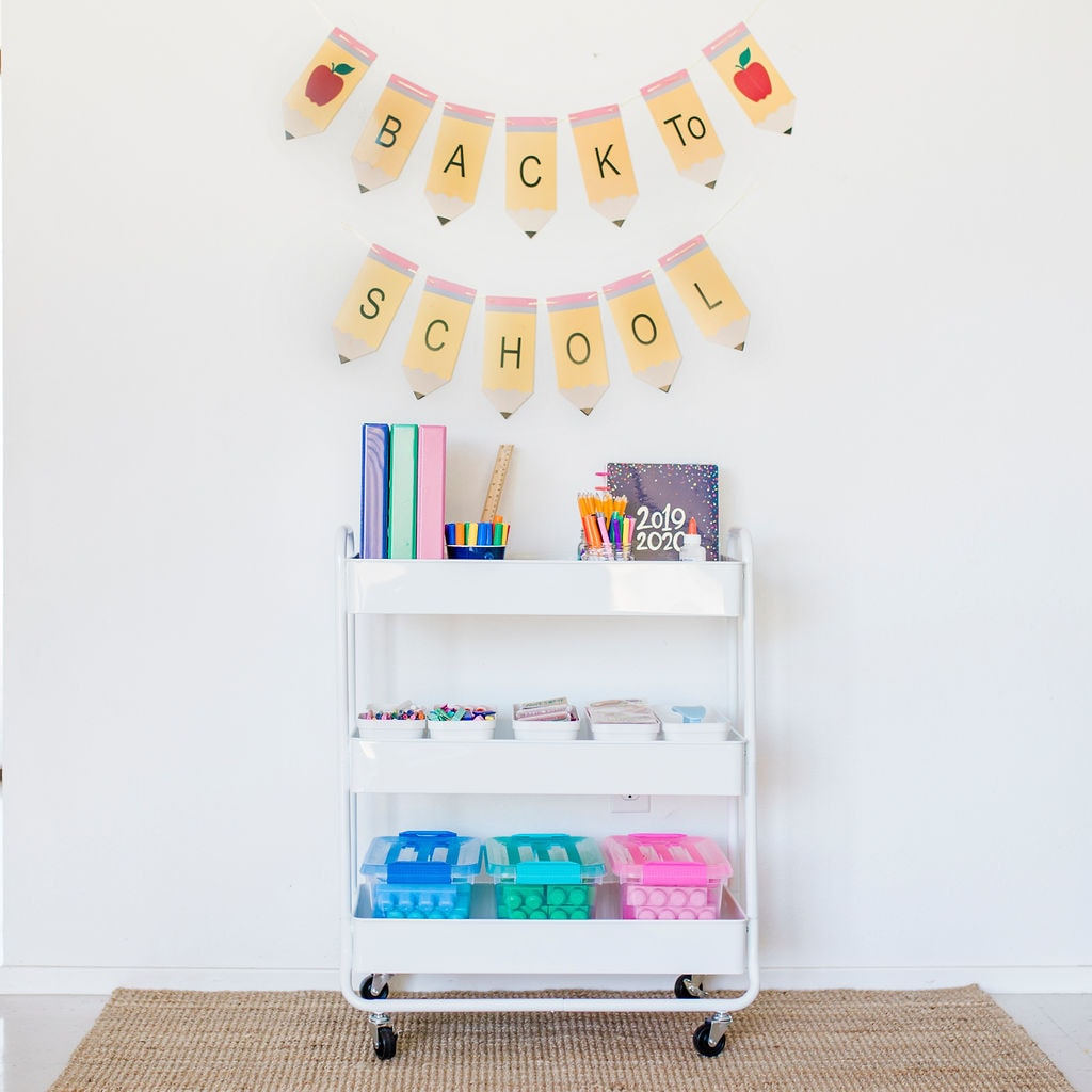 back to school bar cart