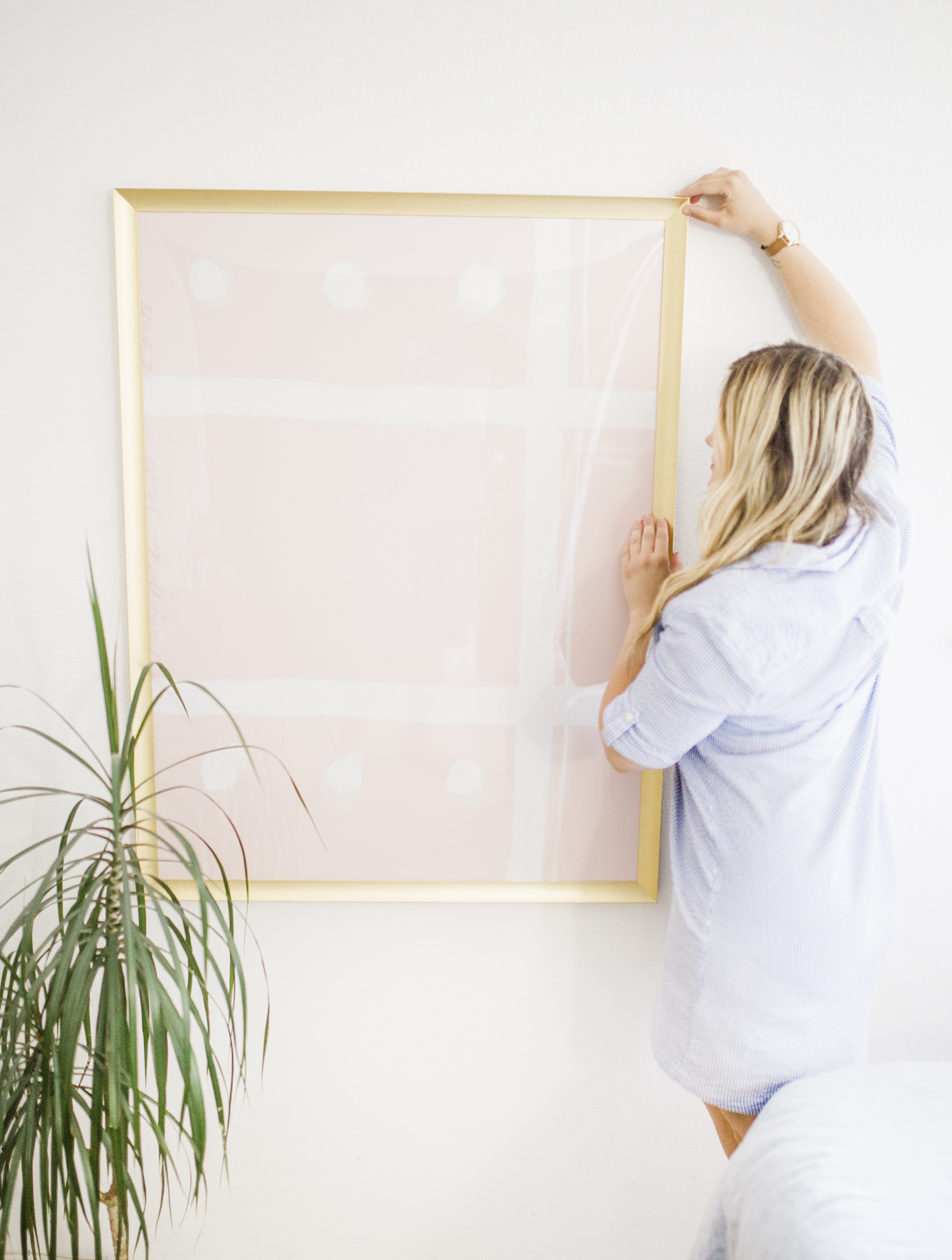 pink photo on the wall