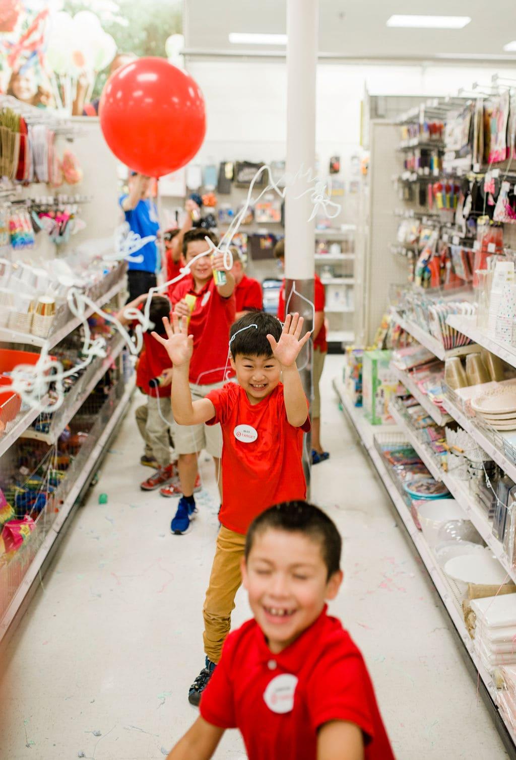 kids running in an aisle