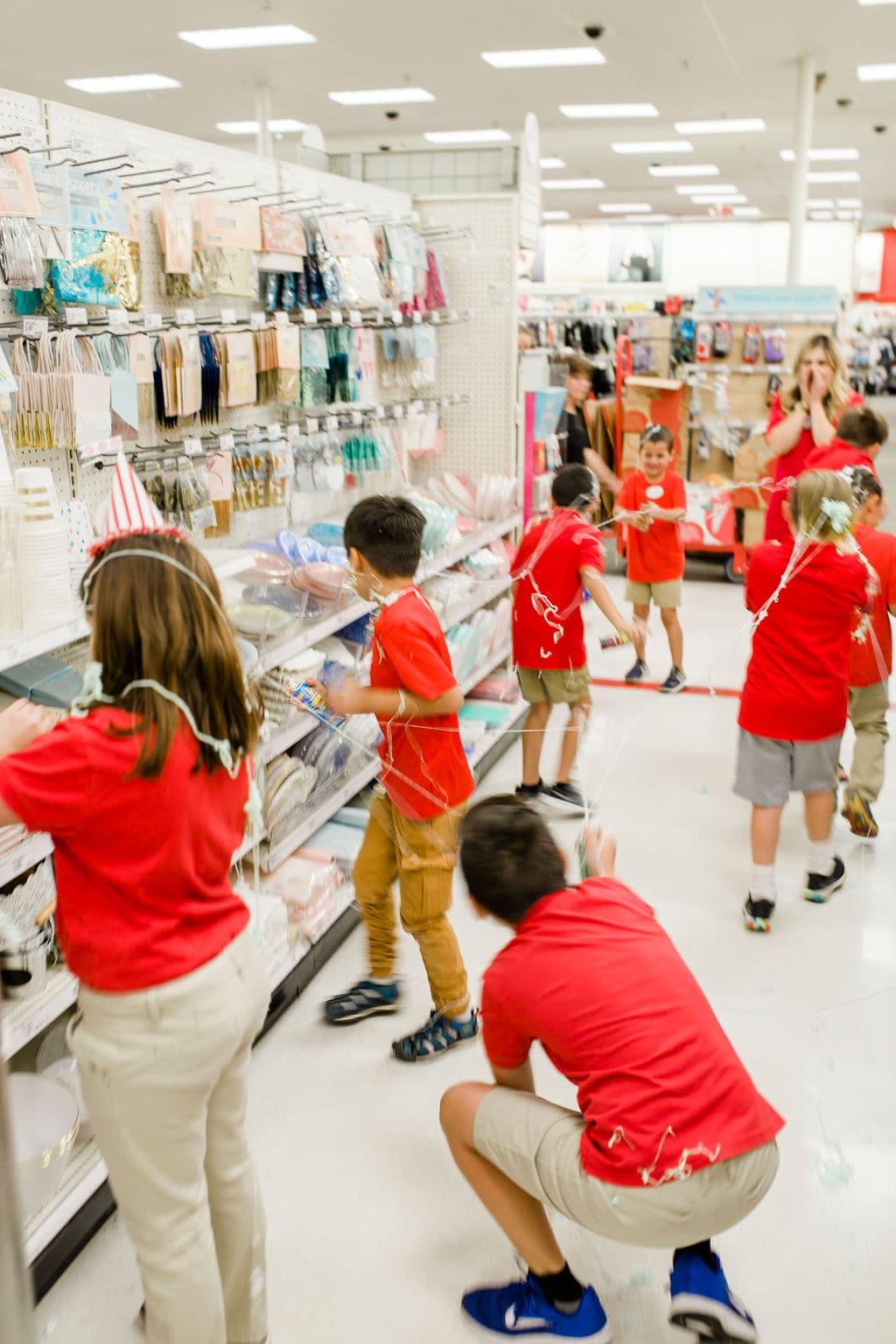 kids in an aisle