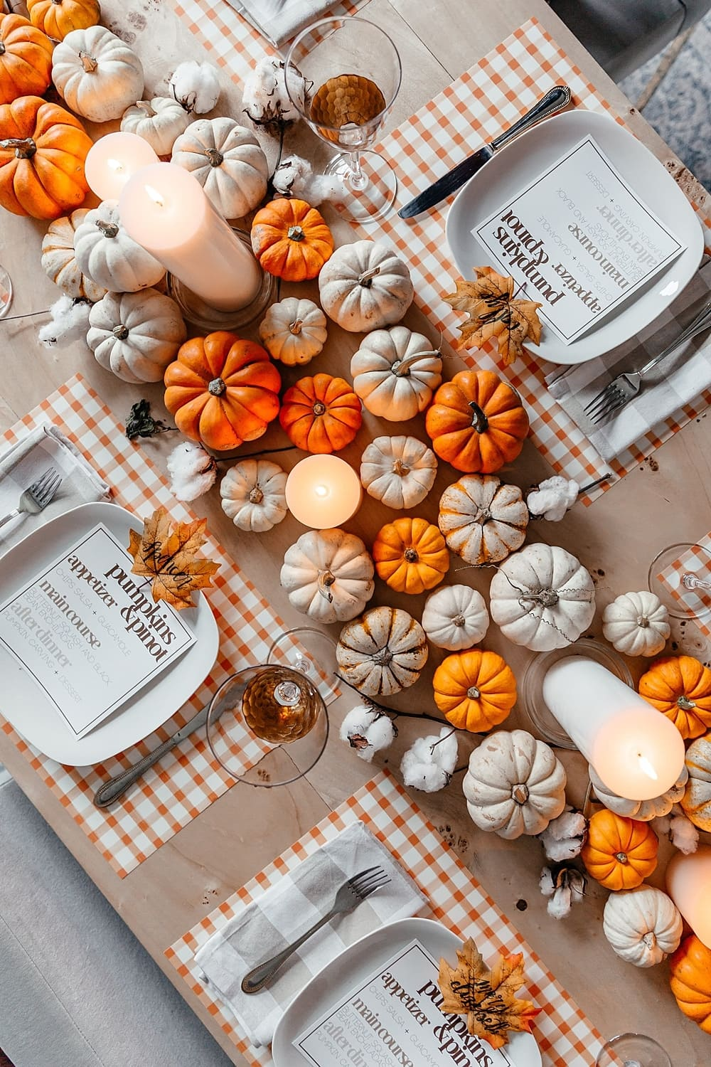 mini pumpkins on table