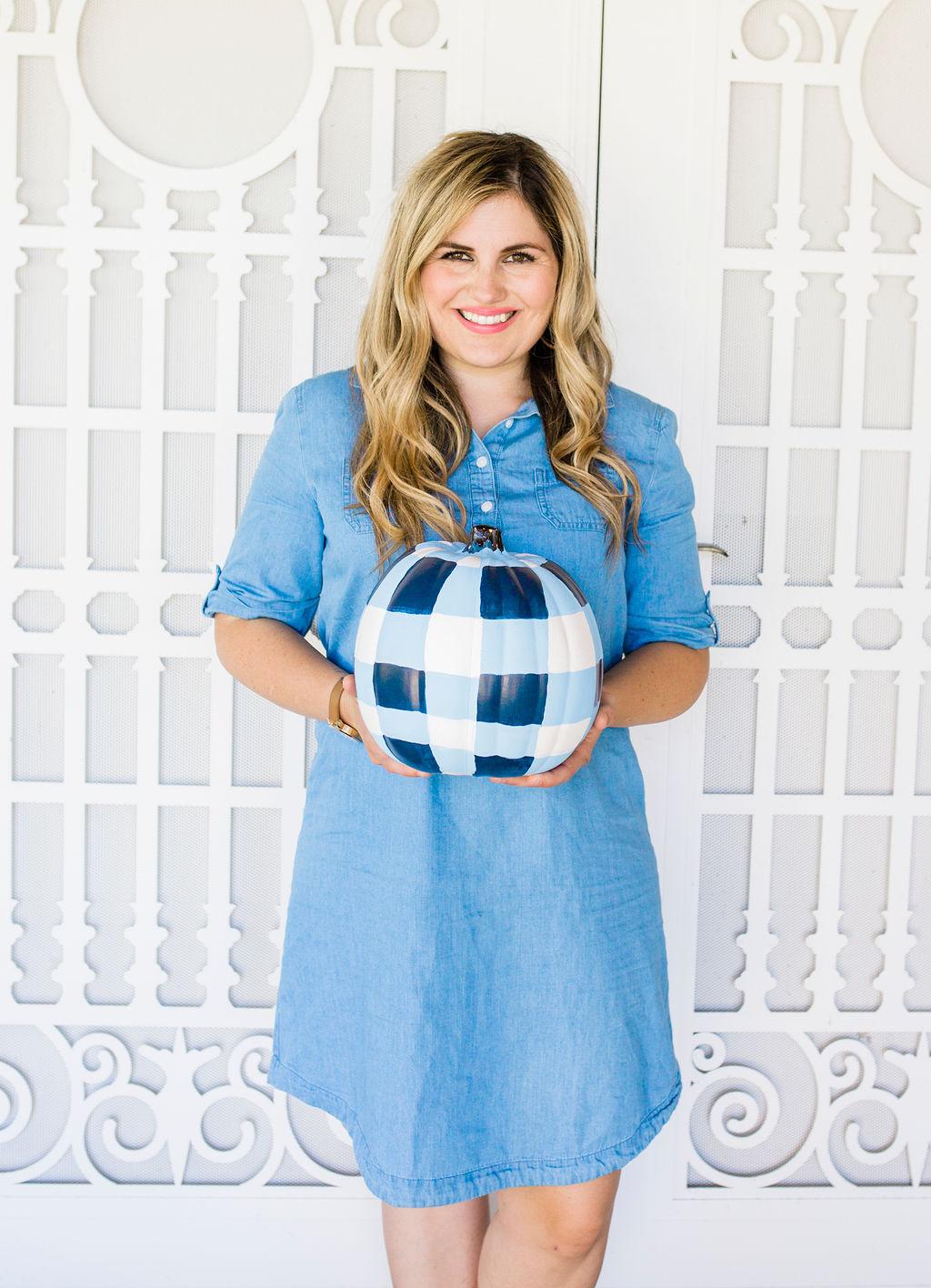 wearing a blue dress