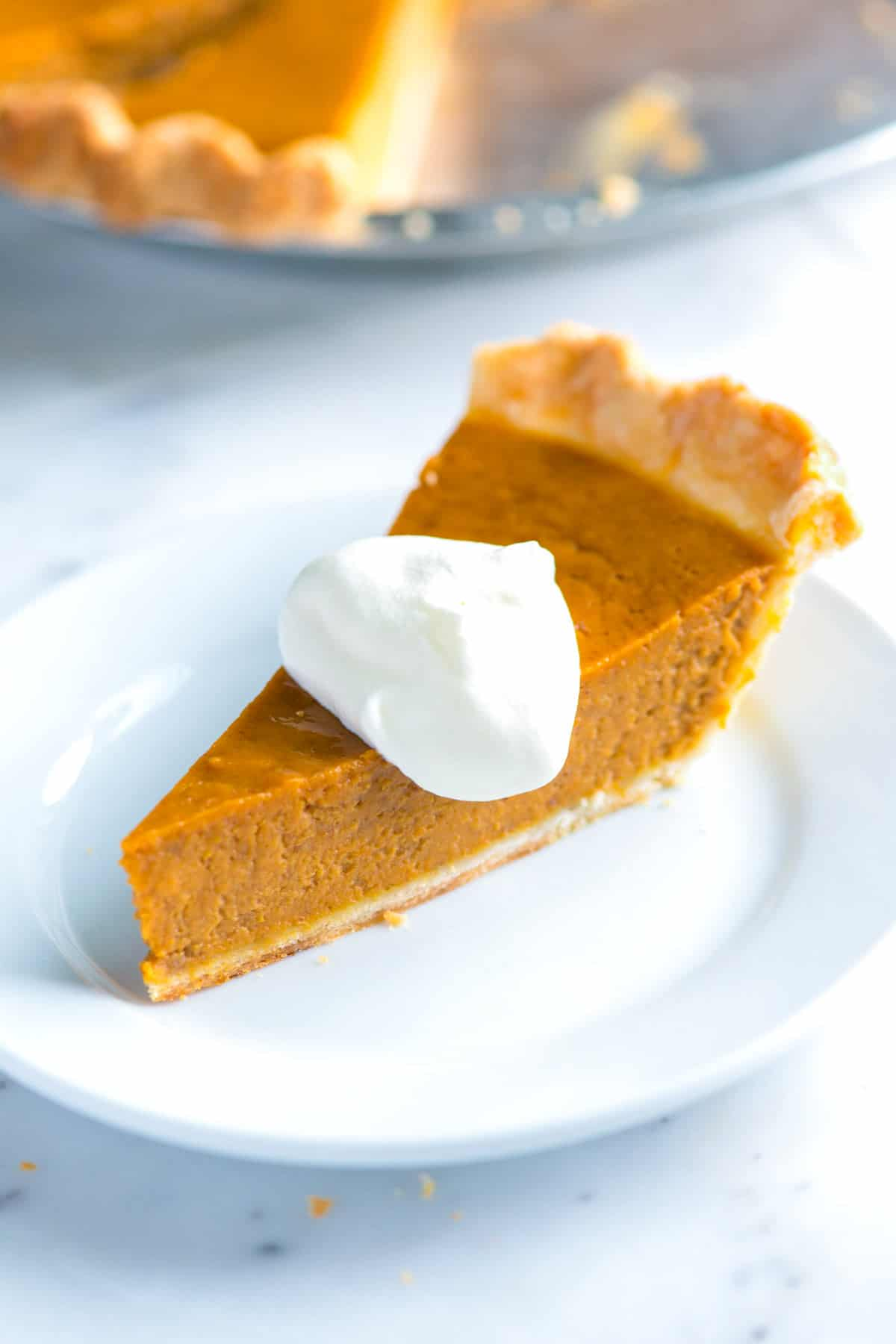 whipped cream on pumpkin pie