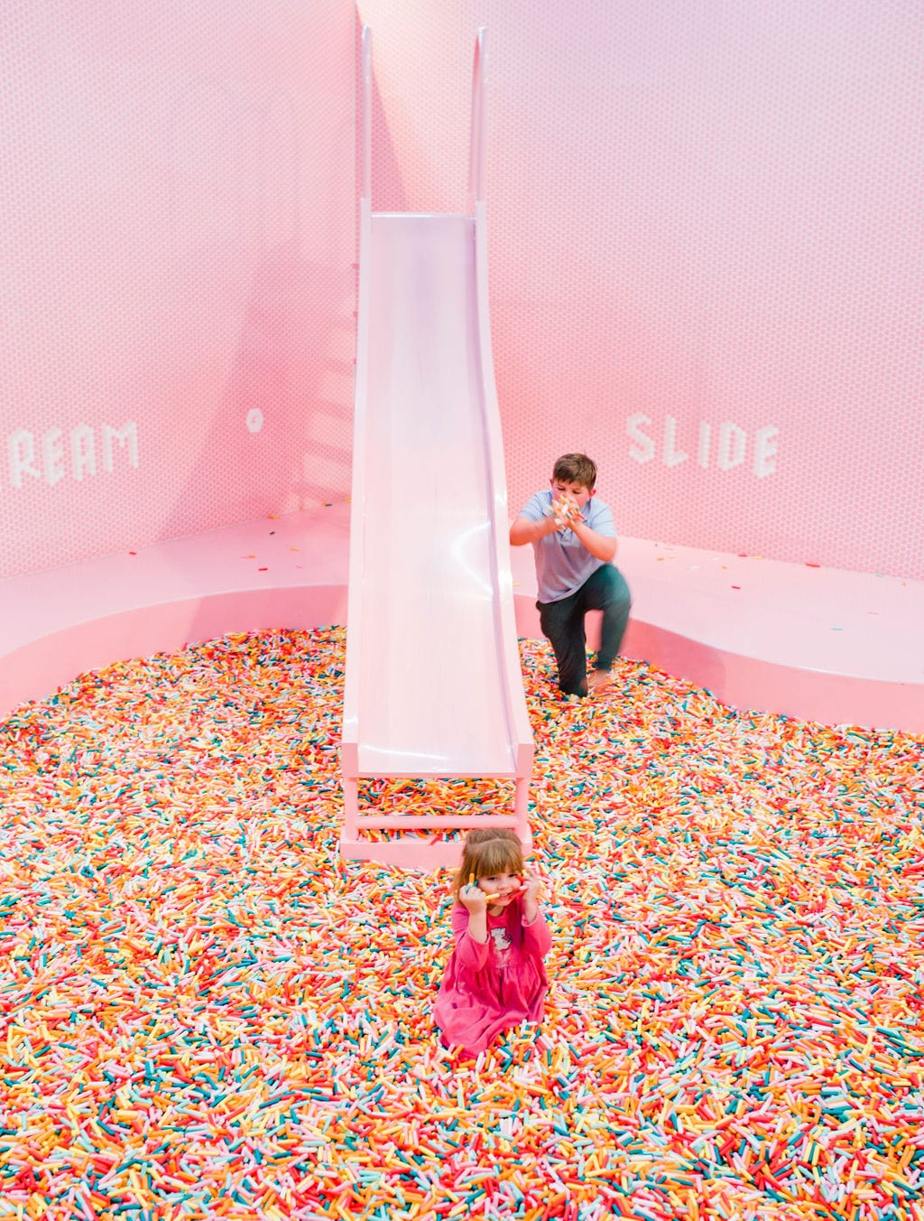 pink pool slide