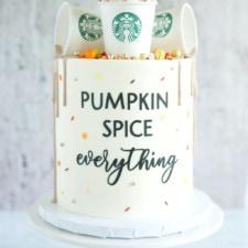 starbucks cups on cake