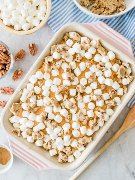 marshmallow sprinkled on sweet potato casserole