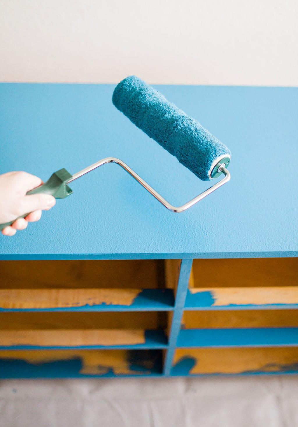 blue paint dresser
