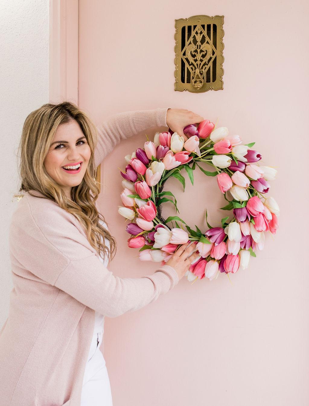 flower wreath on door
