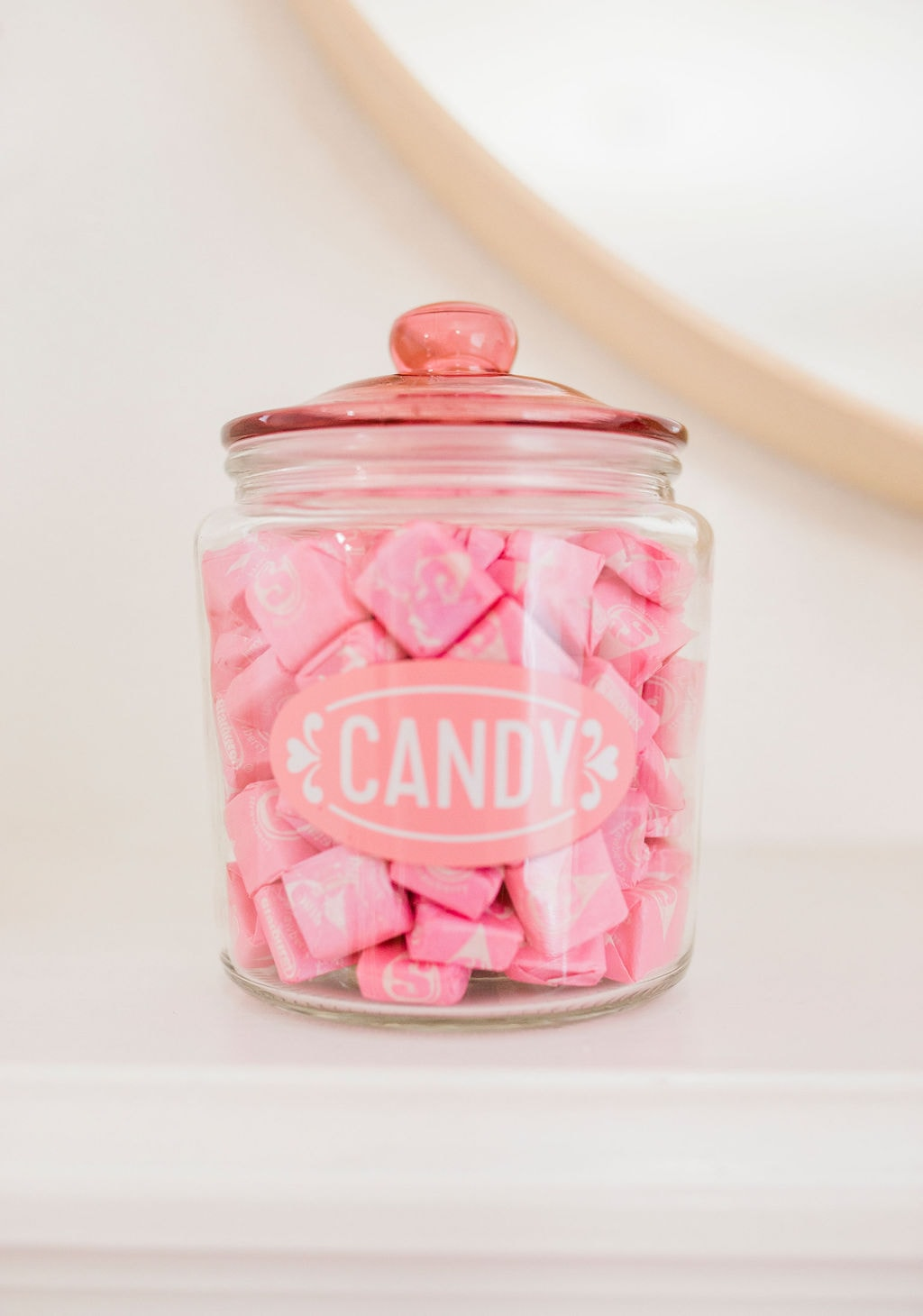 pink candy in jar