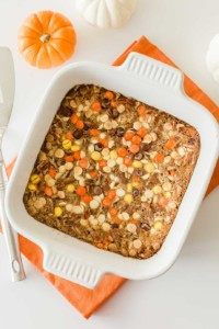dish of pumpkin magic bars