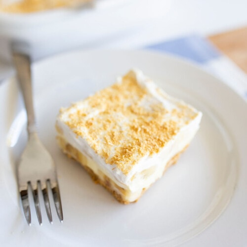 banana cream bar on a plate